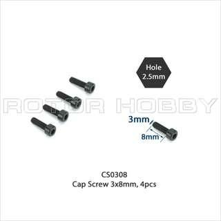 Cap Screw 3x8mm (4pcs) | M3x8 | Code: CS0308