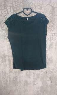 Black Sleeveless Top with Shoulder Eyelets