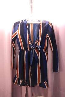 Striped V cut dress