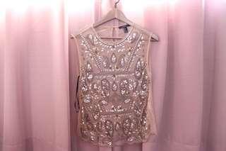 Embellished mesh top
