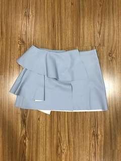 Zara Light Blue Pleather Mini Skirt