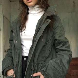 Green parka winter jacket