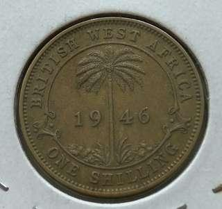 British West Africa 1946 1 Shilling Coin With Good Details