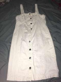 White button down denim dress
