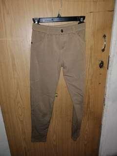 Brown stretchable cotton pants
