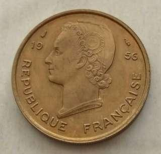 French West Africa 1956(a) 25 Francs Unc Coin.Diameter 27mm