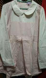 Blus garis pink kombinasi putih