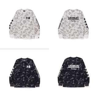 Bape X Neighbourhood Full Camo Crewneck Black White