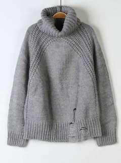 高領混羊毛針衣
