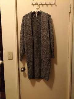 黑色長版針織毛衣外套