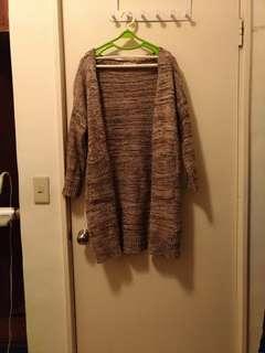 褐色中長版針織毛衣外套