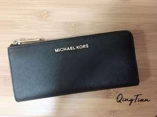 9成新 美國購入 正品 Michael Kors MK L型拉鍊長夾 皮夾 防刮牛皮
