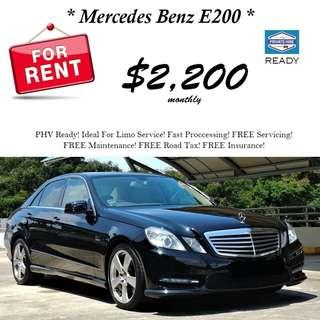 2012 Mercedes Benz E200 For Rent