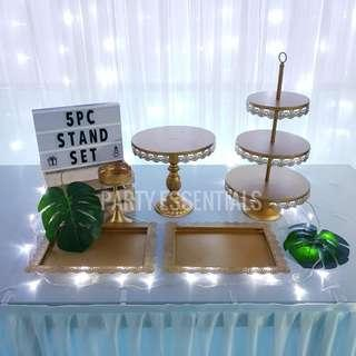 5PCS Gold Cake Stands [Rent]