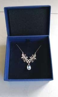 BNIB Swarovski Swan Necklace, White, Rhodium plating