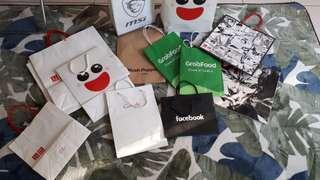 Branded paper bags - Uniqlo, hush puppies, google facebook msi