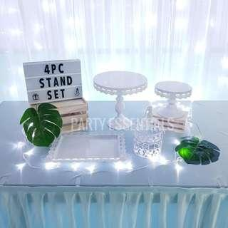4PCS White Cake Stands [Rent]