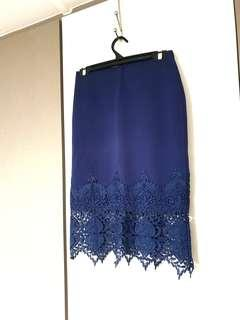 Temt Navy Blue Lace Skirt