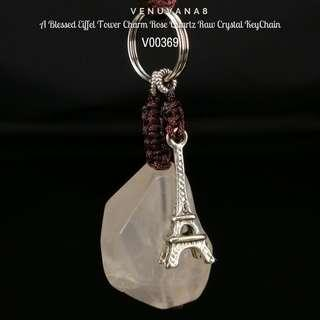 🚚 A Blessed Eiffel Tower Charm Rose Quartz Raw Crystal KeyChain - Rose Quartz welcomes our benefactors, helps us learn to be more vulnerable to accept help from others.