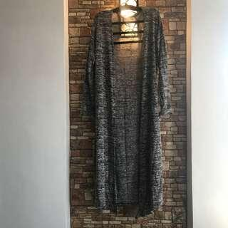 Gray knitted long cardigan
