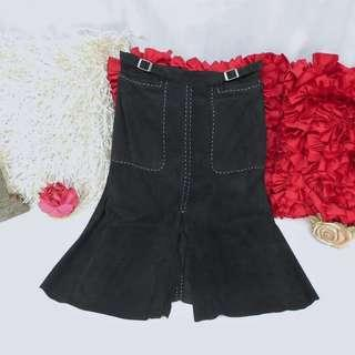 Authentic Whistles Black Skirt White Contrast Stitch
