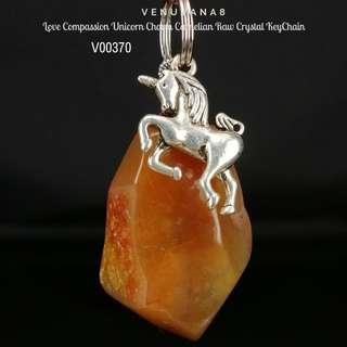 🚚 Love Compassion Unicorn Charm Carnelian Raw Crystal KeyChain - Carnelian heals Root Chakra -it's about meeting our basic needs for survival & also our Past life unresolved emotional issues. Unicorn represents magical.