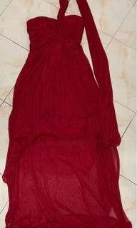 Red Chiffon Long Back Formal Wear