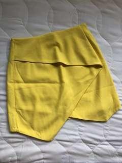 Yellow foldover skirt
