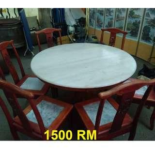 6 seater chinese stone dinning table