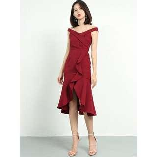 Maroon Red Ruffle Off Shoulder Dress