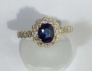 K18 Sapphire Diamond Ring with Certificate