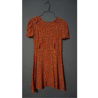 TOPSHOP PETITE Cut-out Tea Dress Size 6