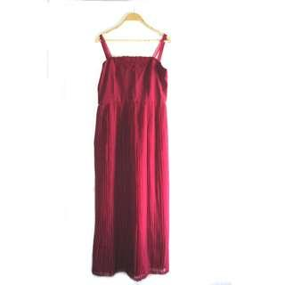 Vintage Red Pleated Long Dress