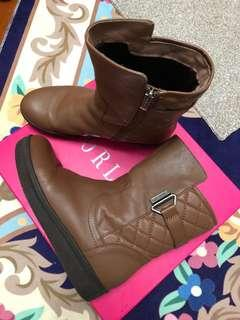 authentic leather Brown boots 真皮長boot