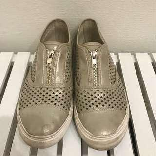 Silver Cutout Shoes with Zip