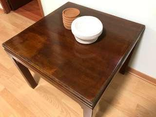 Solid elm wood square side / coffee table