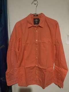 🚚 橘素色h&m襯衫
