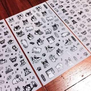 Dog/Doggo Stickers Black and White