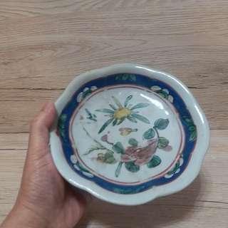 清晚粉彩蓮花碗 寬17cm 高3.8cm