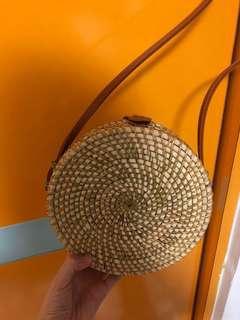 Straw woven sling bag