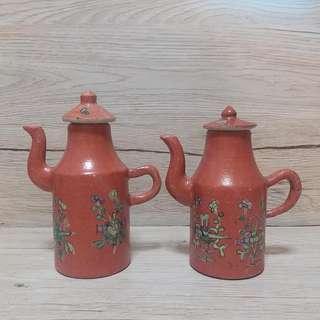 清暗八仙紅酒壺一對,高15cm 長12cm