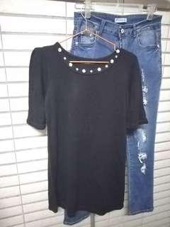 🚚 五分袖黑色鑽飾長版上衣