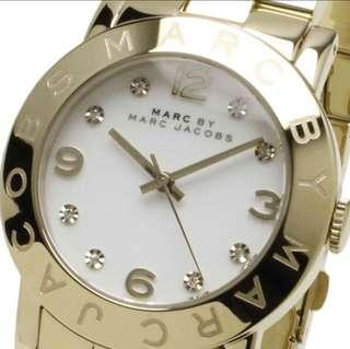 Authentic Marc by Marc Jacobs Amy Gold Plated MBM3056 Watch