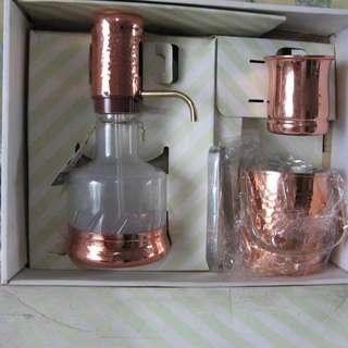 Hammered Copper Ice Bucket Mug and Siphon Bottle