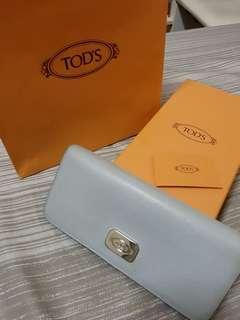 (已匯款待買家收貨)便宜賣! TOD'S 水藍色皮夾 (已送洗過)