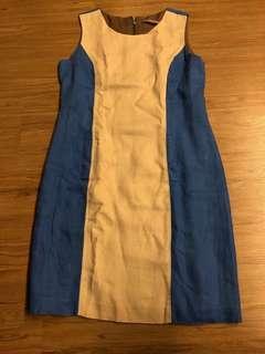 Blue and Biege Office dress