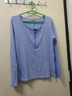 Uniqlo Baby Blue Stripes Long Sleeves