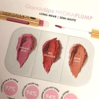 Grande Lips HydraPlump Semi Matte Lipstick 3-shade Sample Card