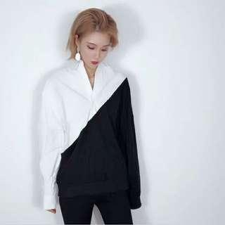 🚚 ✓ Asymmetrical White Black Shirt