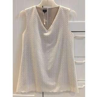 MARLAN OFF WHITE SLEEVELESS EMBROIDERY TOP BLOUSE SZ XS-S
